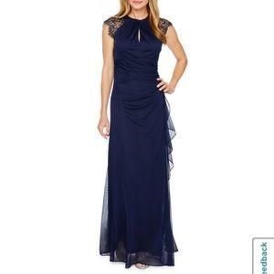 DJ Jaz lace cap sleeve Evening Gown Navy